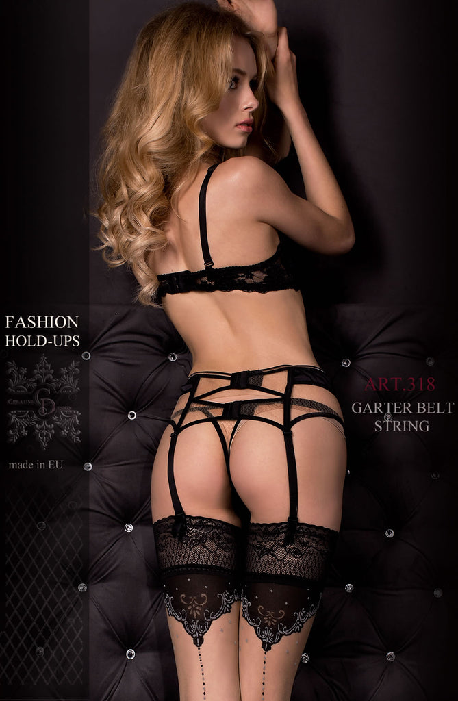 Black Strappy Garter Belt & Thong