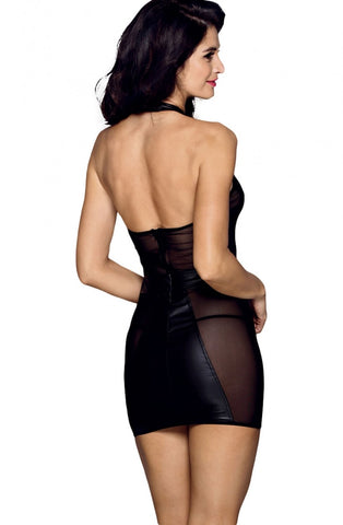 Image of Wet Look Sheer Mini Dress
