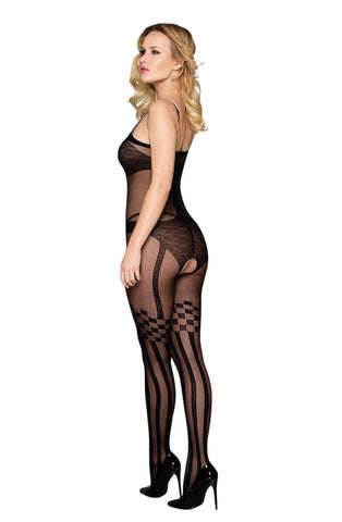 Image of Bodystocking with Checkered Design