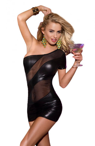 Image of Wet Look Mesh Insert Dress