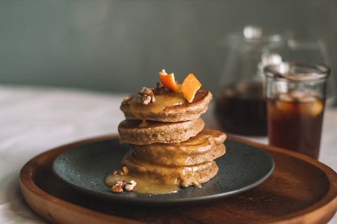 Walnut pancakes with syrup