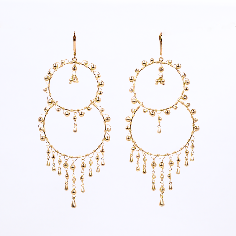 lightweight boho beaded double hoop earrings affordable trendy online jewelry