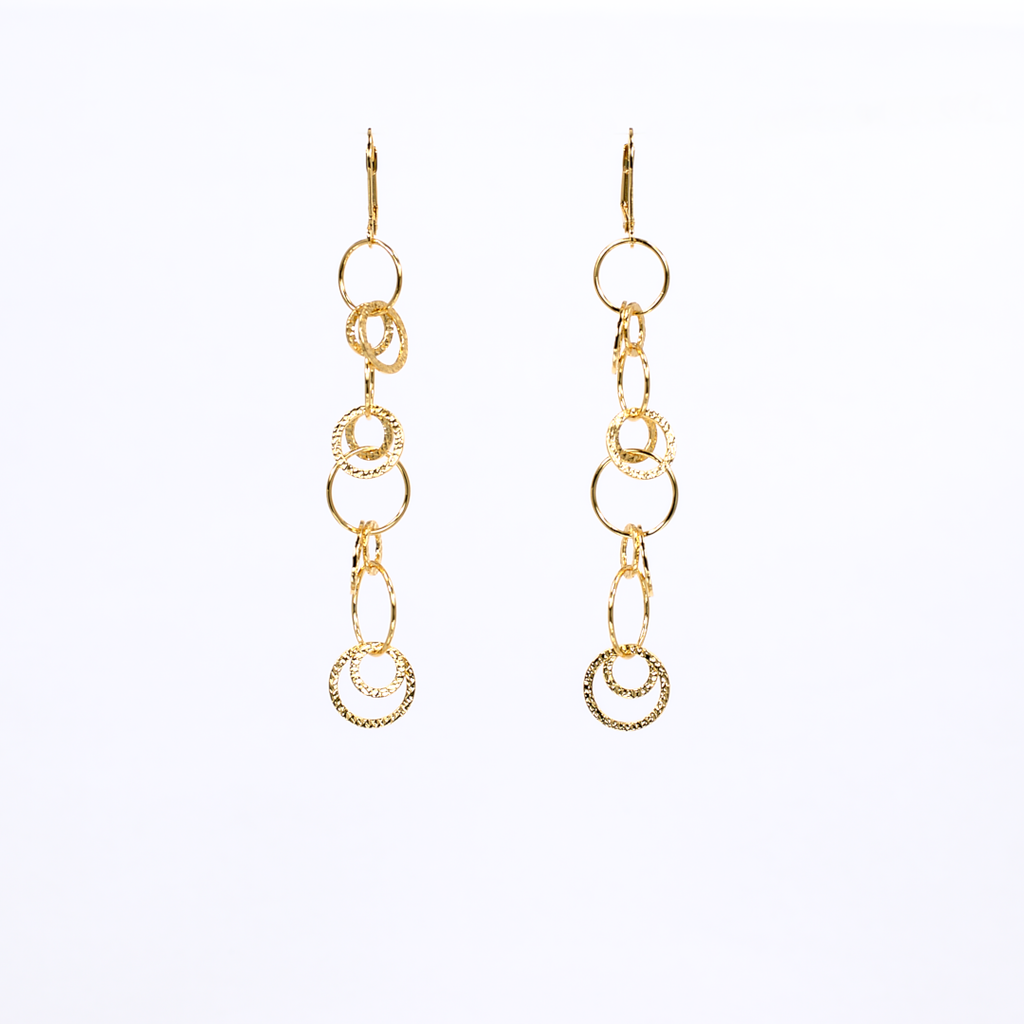 lightweight effortless affordable gold link long earrings