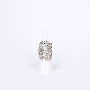 Bridal cutout statement cubic zirconia ring