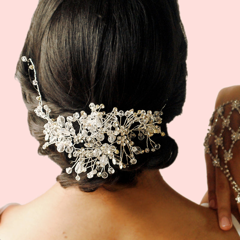 handmade rhinestone and crystal affordable bridal headpiece