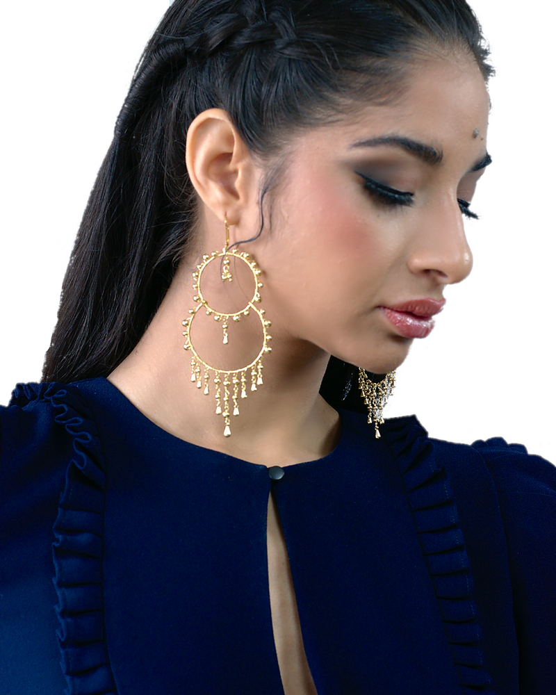 lightweight boho beaded double hoop earrings
