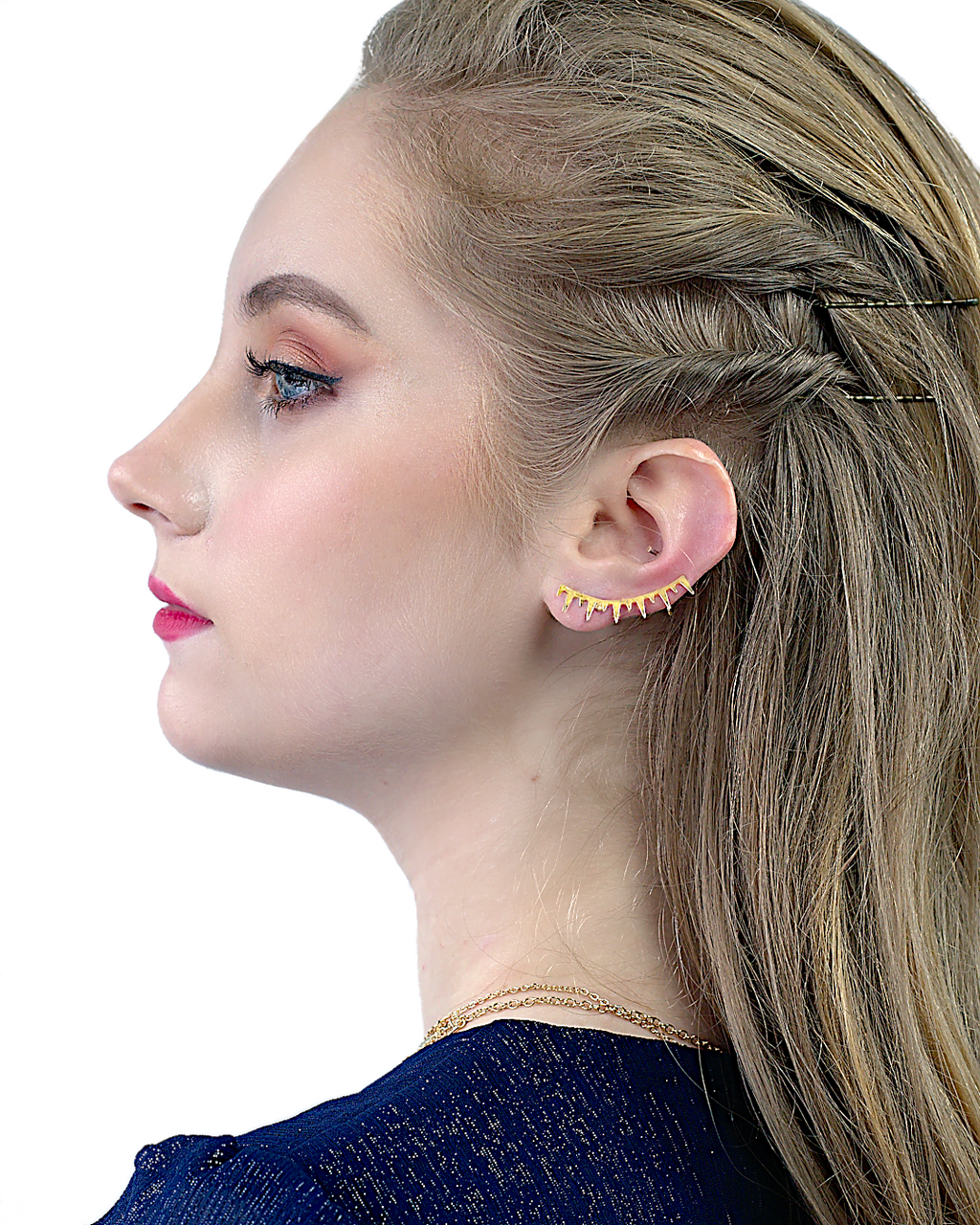 unique lightweight gold spike ear cuff