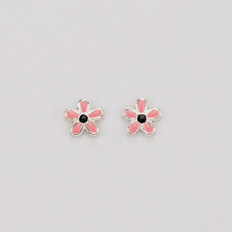 flower stud enamel earrings sterling silver affordable girls jewelry