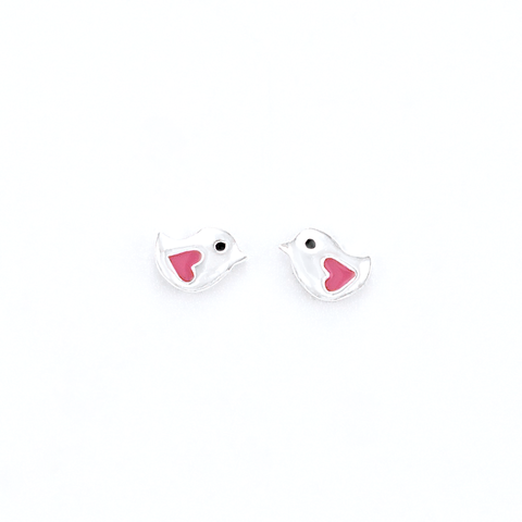 viviana silver heart stud earrings