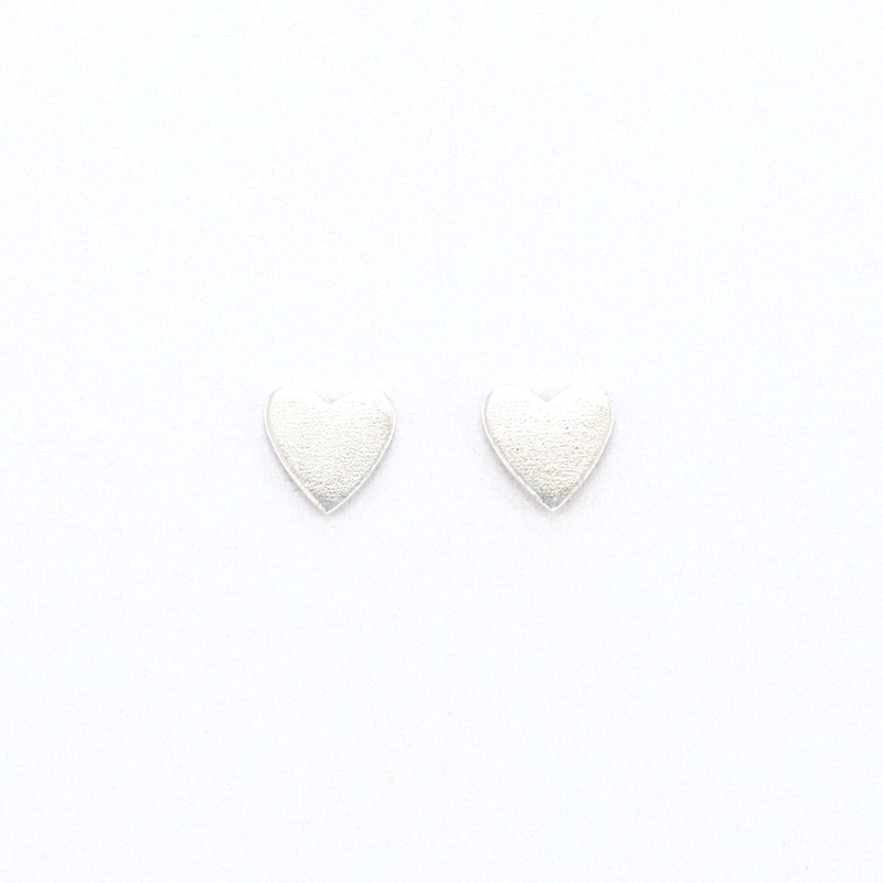 polished silver heart stud earrings girls jewelry sterling silver affordable