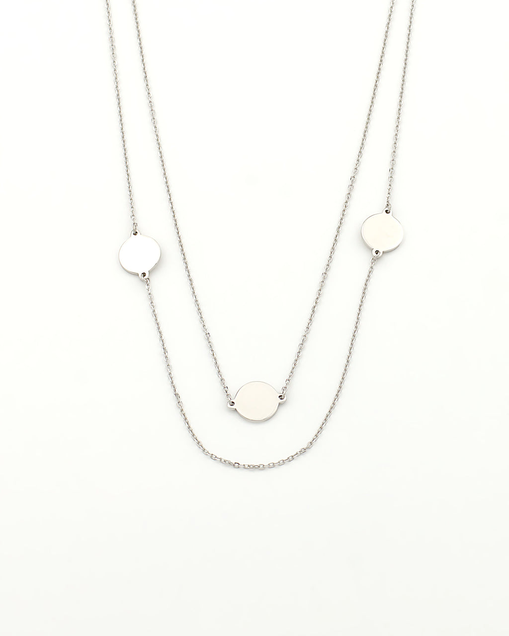 minimalist chic boho layered necklace with three discs