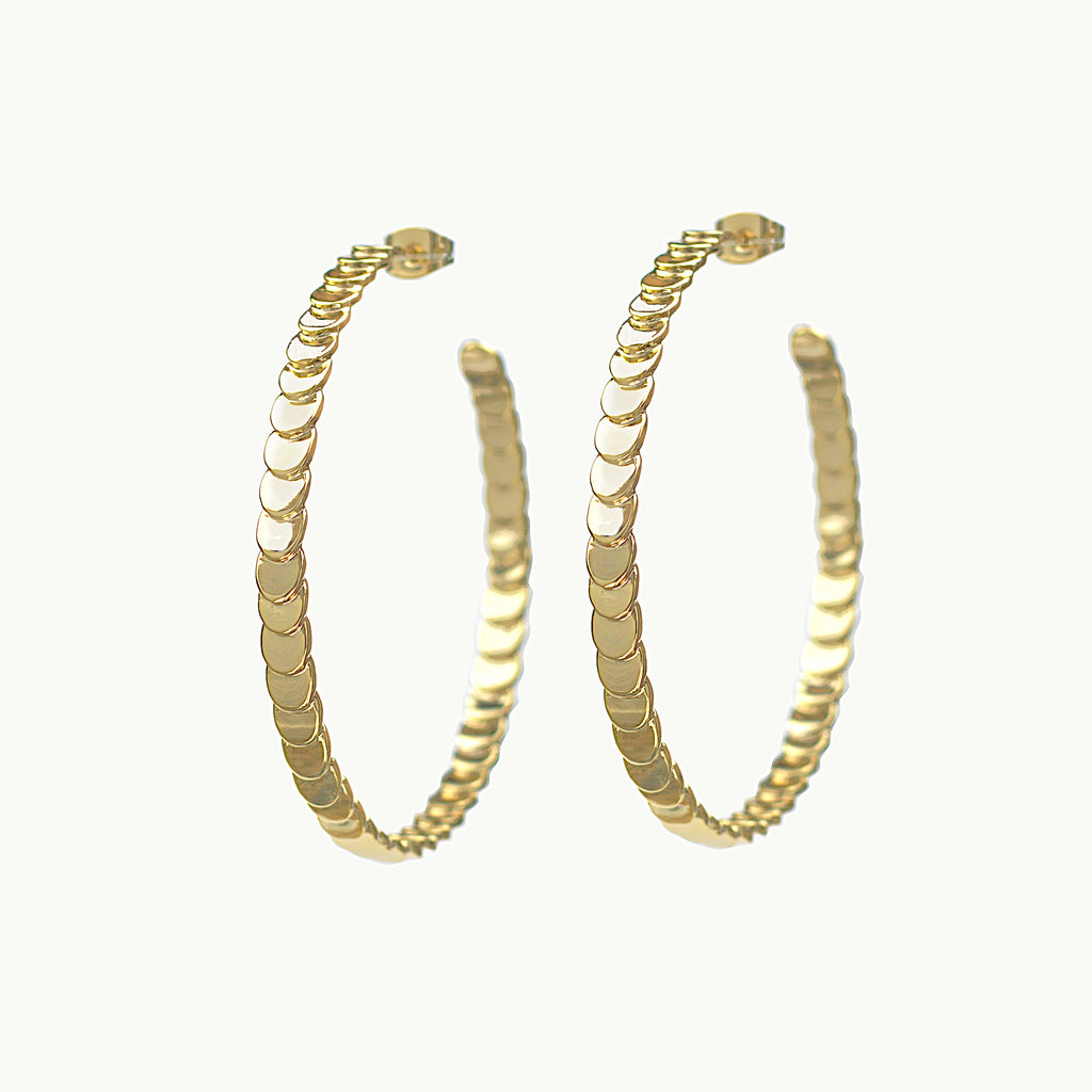 gold hoop scale earrings