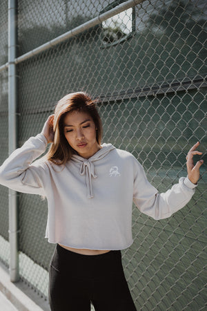 Soft pearl Cropped She-wolf hoodie