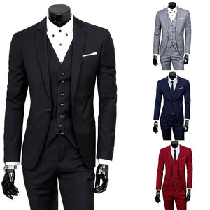 HEFLASHOR Mens 3 Pieces Blazers Pants Vest Social Suit Thin Men Fashion  Solid Business Suit Set ... 55ce700ae957