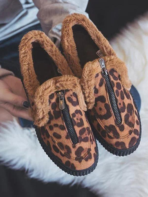 Fashion Leopard Plus Velvet Warm Shoes