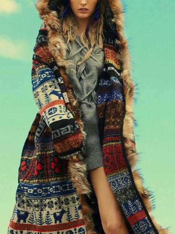 Stitching Fox Fur Long Cardigan Top