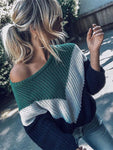 Stitching Striped Sweater