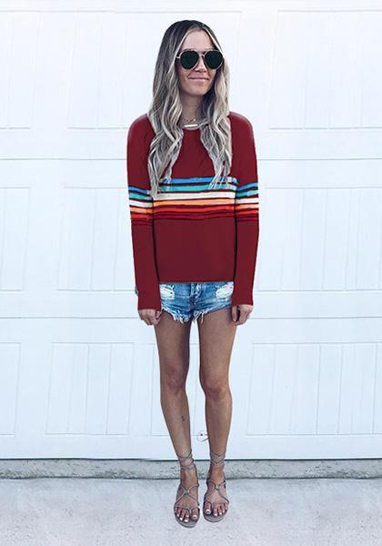 Casual Neck Rainbow Striped T-shirt Tops