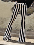 Black White Striped Flared Pants