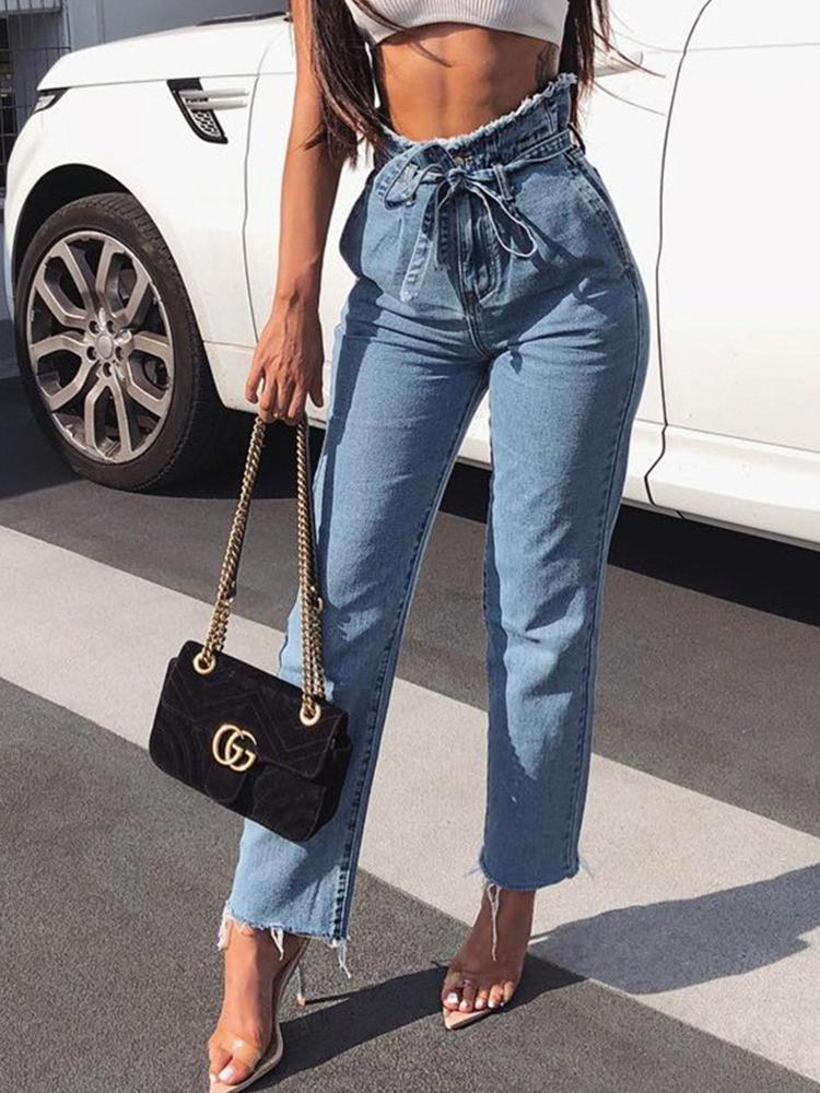 High-Waisted Edging Belt Jeans