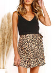 Leopard Ruffled Irregular Skirt