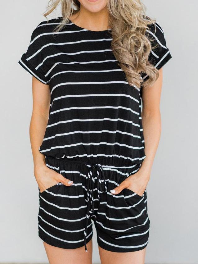 Stripe Casual Elastic Waist Jumpsuits&Rompers