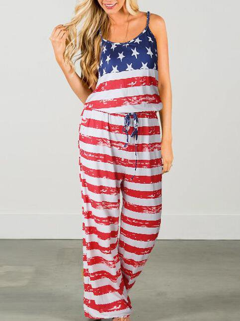 America Flag Print Loose Jumpsuits&Rompers