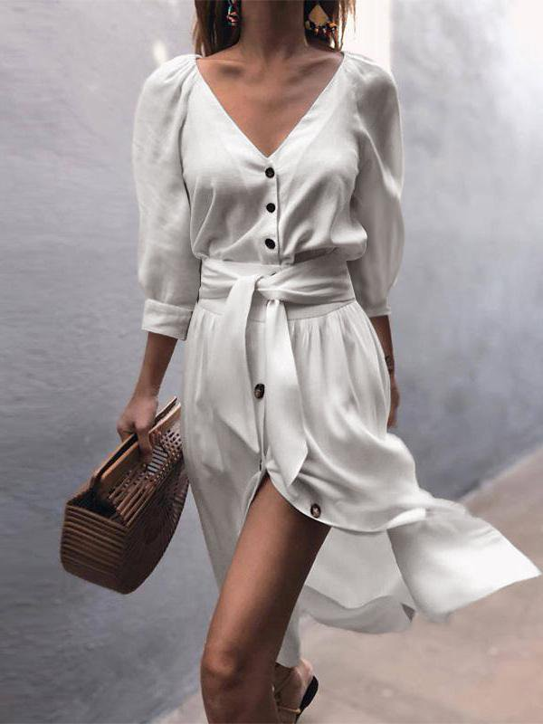 Fashion V-Neck Strap Mid-Sleeve Dress