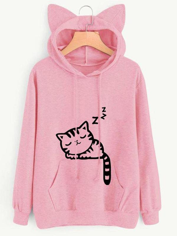 Cute Sleep Cat Printed Cat Ear Hoodie