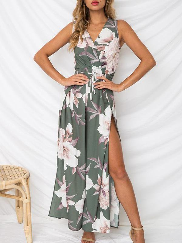 V-Neck Printed Cross lace up Side Slit Loose Jumpsuit