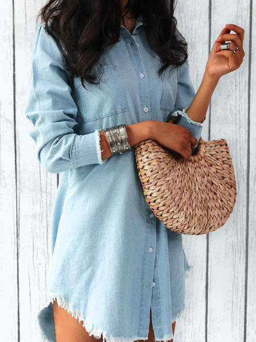 Torn Edges Buttons Denim Look Mini Dresses Shirt Dress