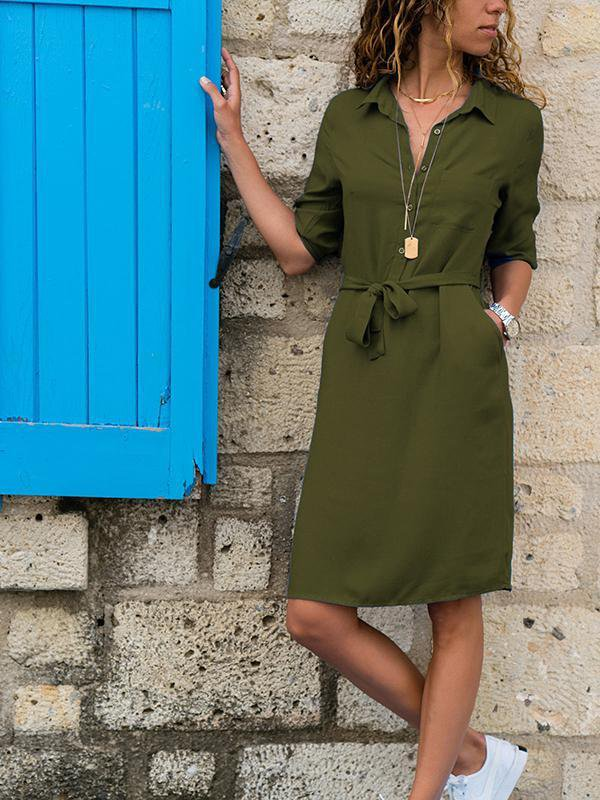Solid Color Half Sleeve Blouse Dress-Amazingbe.com-amazingbe.com
