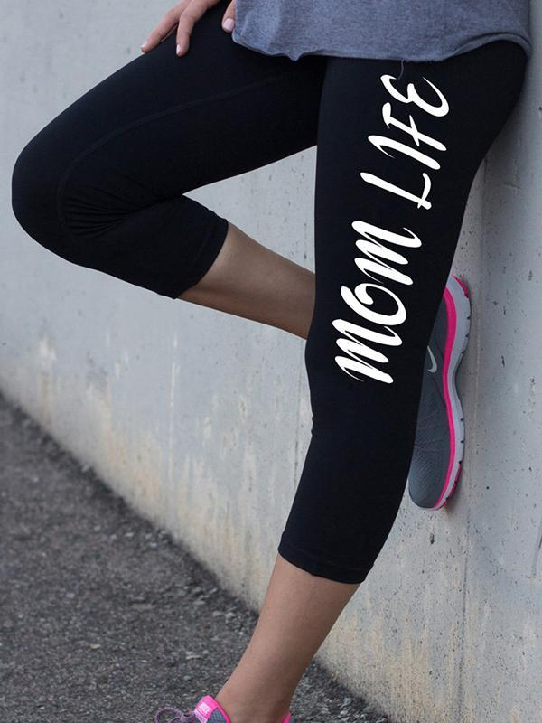 Mom Life Letter Printed Sports Tight Pants
