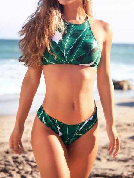 Printed High Cut Strappy Bikini