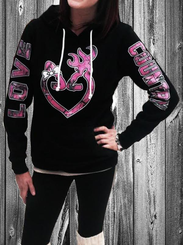 LOVE COUNTRY Heart Printed Drawstring Hoodie