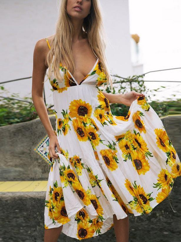 Deep V-neck Floral Printed Backless Dress