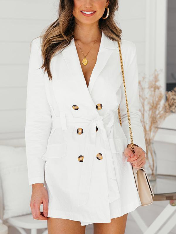 Solid Color Jacket Dress With Button-Cardigans & Coats-Amazingbe.com