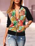 Pineapple Printed Long Sleeve Splice Jacket-Amazingbe.com-amazingbe.com