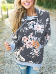 Floral Splicing Drawstring Pocket Hoodie-Hoodies & Sweatshirts-Amazingbe.com