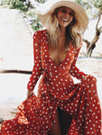 Polka Dot V-Neck Front Vent Dress-Maxi Dress-Amazingbe.com