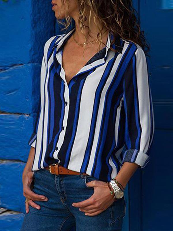 Fashion Striped Long Sleeve Blouse-Amazingbe.com-amazingbe.com