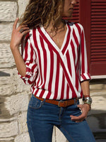 V-neck Striped Long Sleeve Blouse-Amazingbe.com-amazingbe.com
