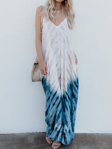 Solid Color V-neck Long Boho Dress