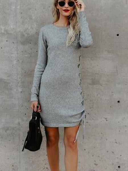 Solid Color Long-Sleeved Side Straps Hip Dress