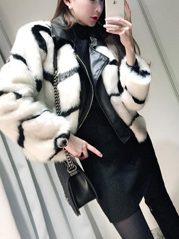 Stitched Faux Fur Coat