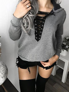 Lace Up Long Sleeve Solid Hoodie-Amazingbe.com-amazingbe.com