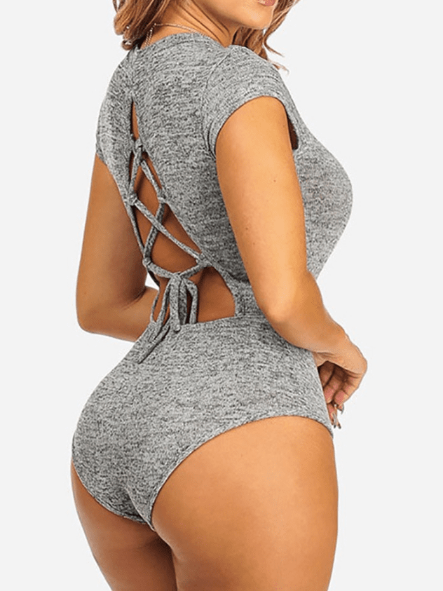 Solid Color Backless Slimfit O-neck Jumpsuit Without Necklace