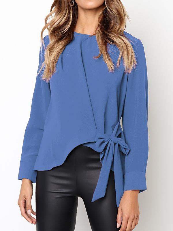 Bow Knot Irregular Solid Blouse-Blouse-Amazingbe.com