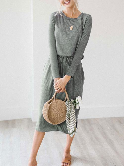 Casual Lace-up Grey Knitting Mid Calf Dress