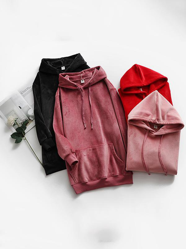 Hooded Double-sided Velvet Solid Color Long Sweater